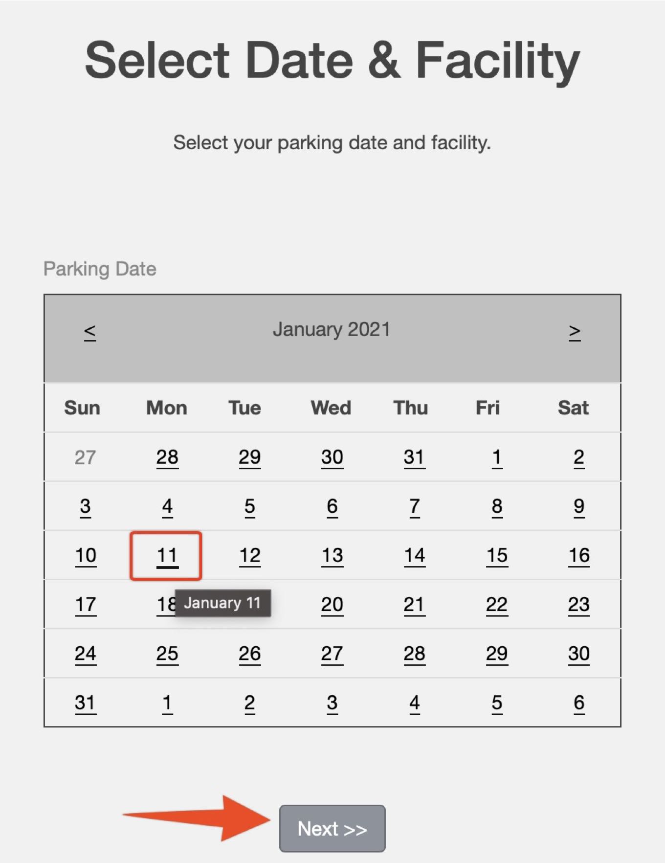 Select Date & Facility